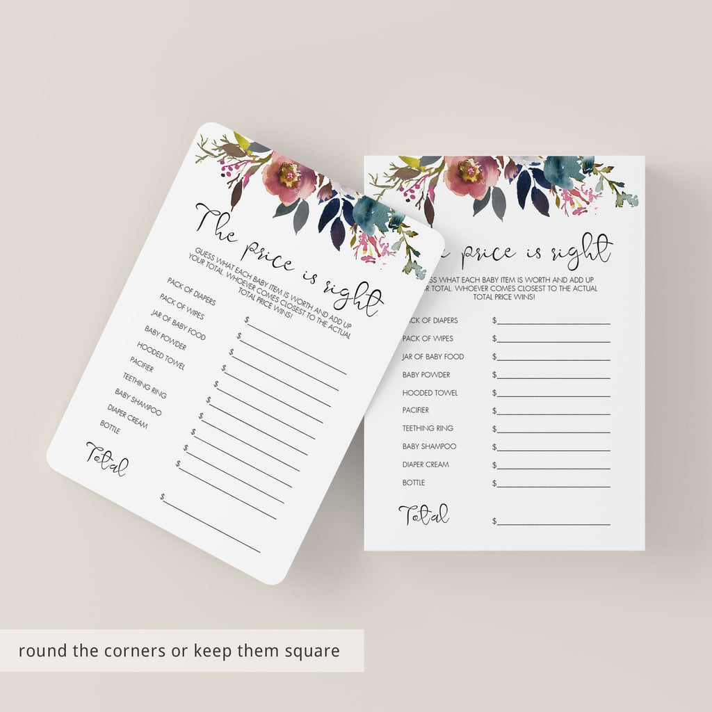 Vintage Flower Baby Shower Game Price is Right Printable