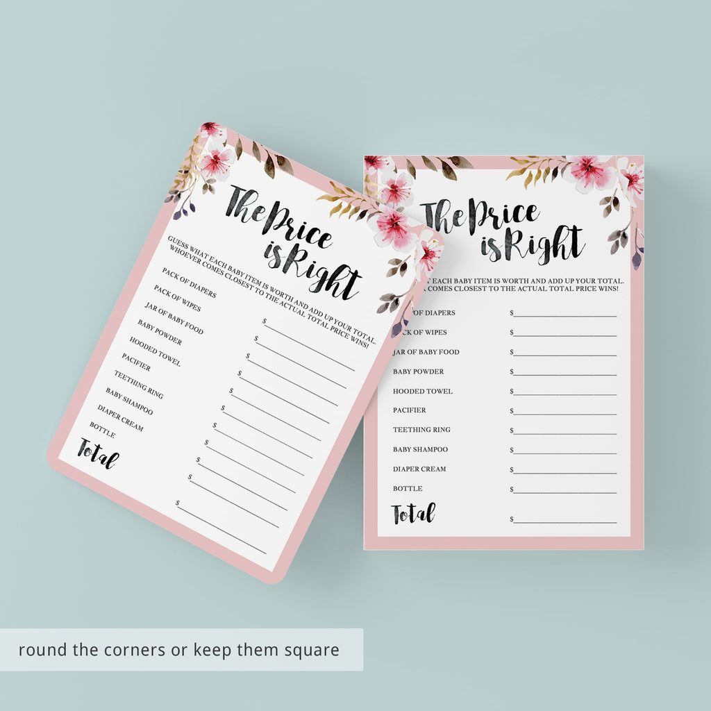 Floral baby shower game The Price is Right printable ...