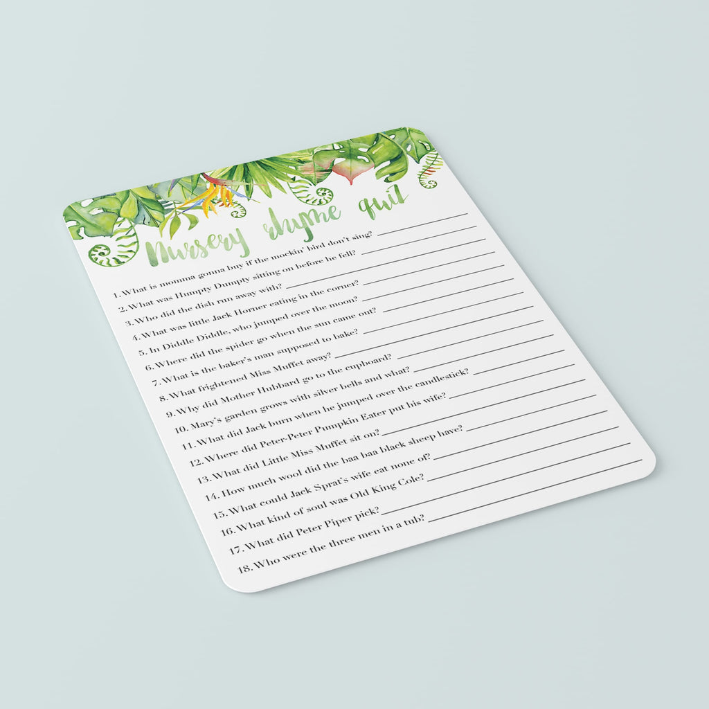 Luau Baby Party Game Nursery Rhyme Quiz Printable