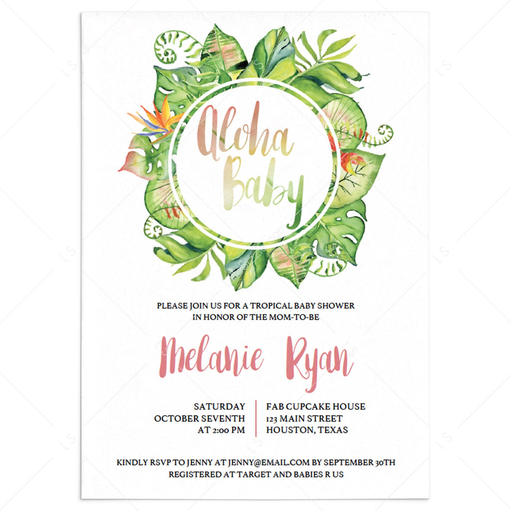 Tropical Baby Shower Invitation Template by LittleSizzle