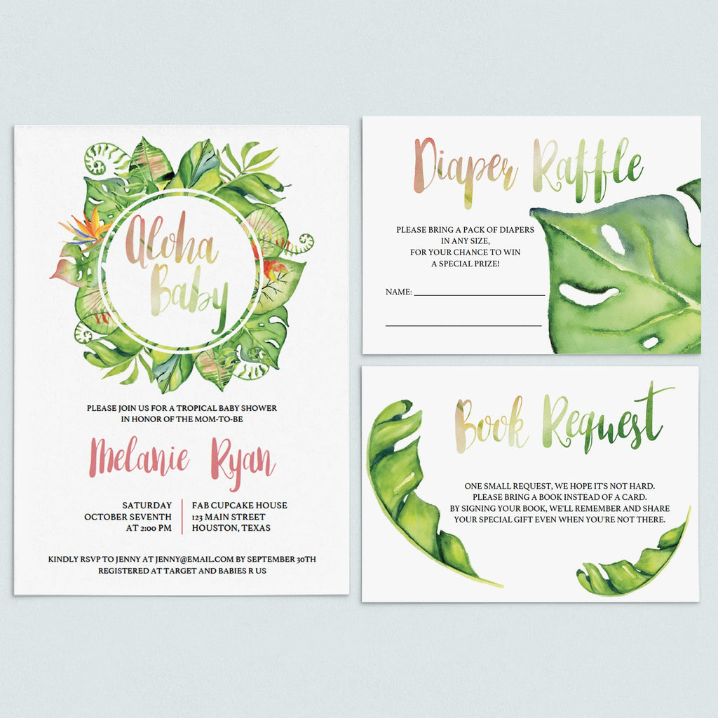 Tropical Baby Shower Invitation Set Download by LittleSizzle