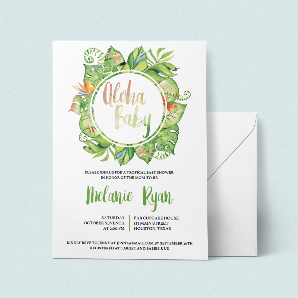 Neutral green baby shower invitation by LittleSizzle