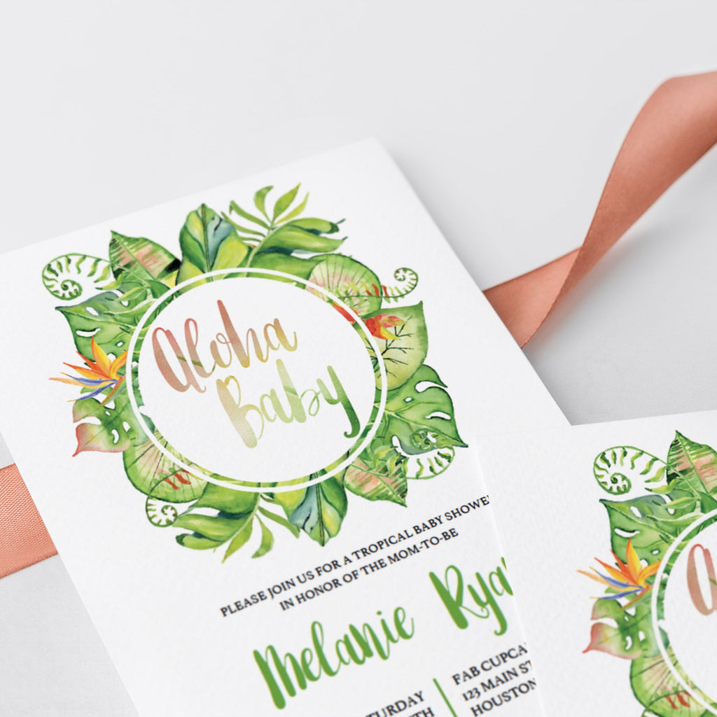 Close up of watercolor tropical Baby Shower Invite by LittleSizzle