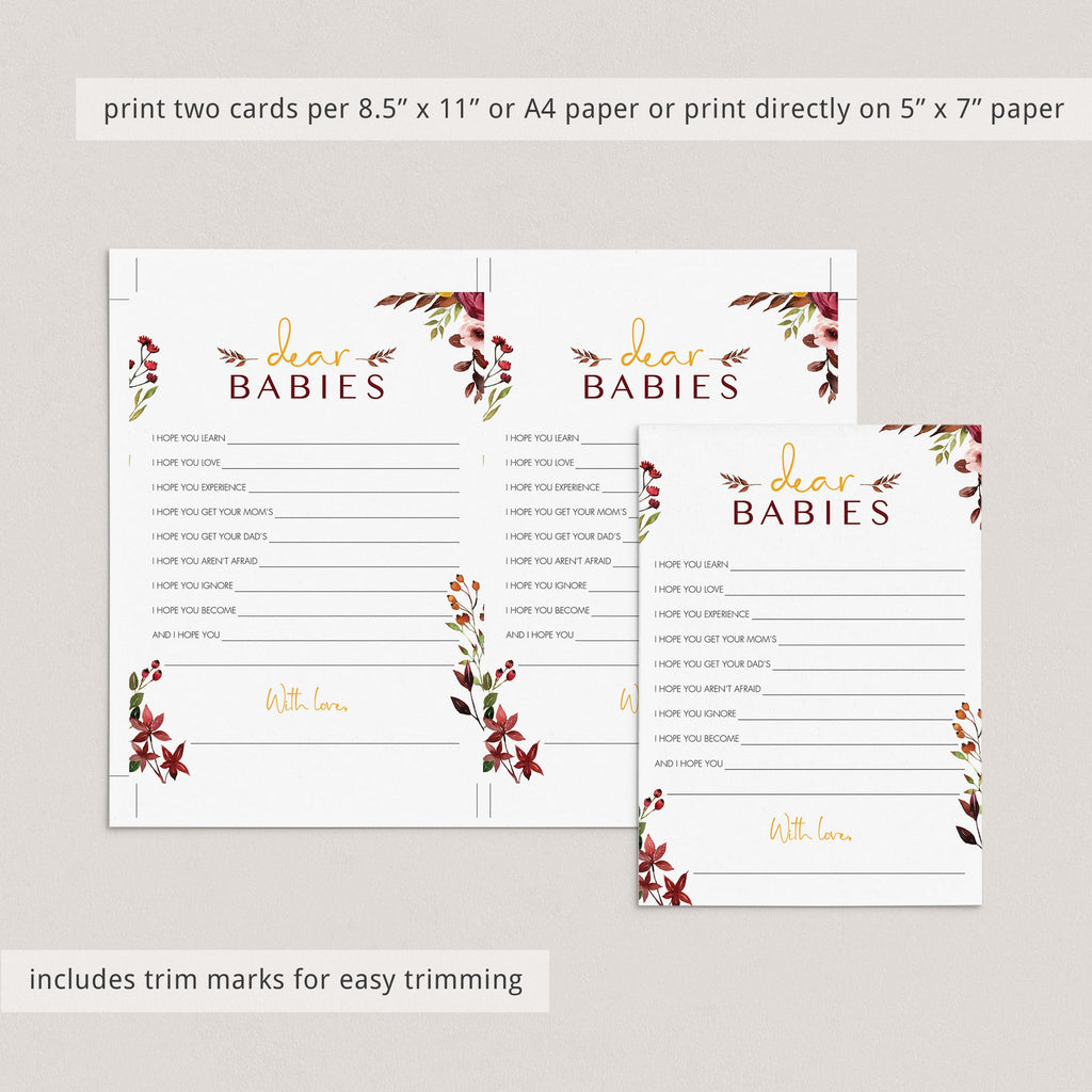 Dear babies twin baby shower game burgundy floral by LittleSizzle
