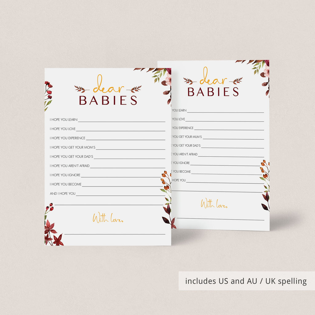 Burgundy floral baby shower games for twin by LittleSizzle