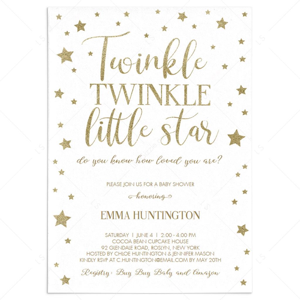 Twinkle Twinkle Little Star baby shower invitation template | Instant  download – LittleSizzle