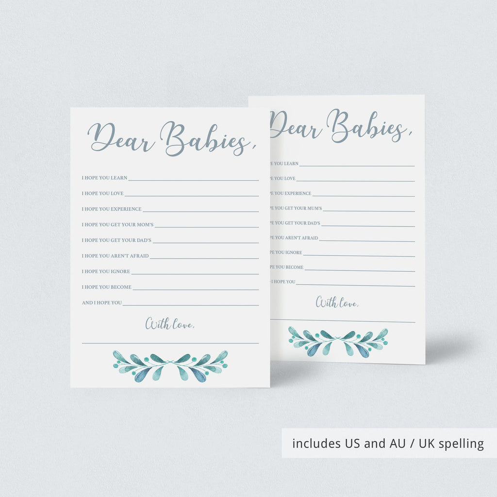 Blue and silver dear babies printable game card by LittleSizzle