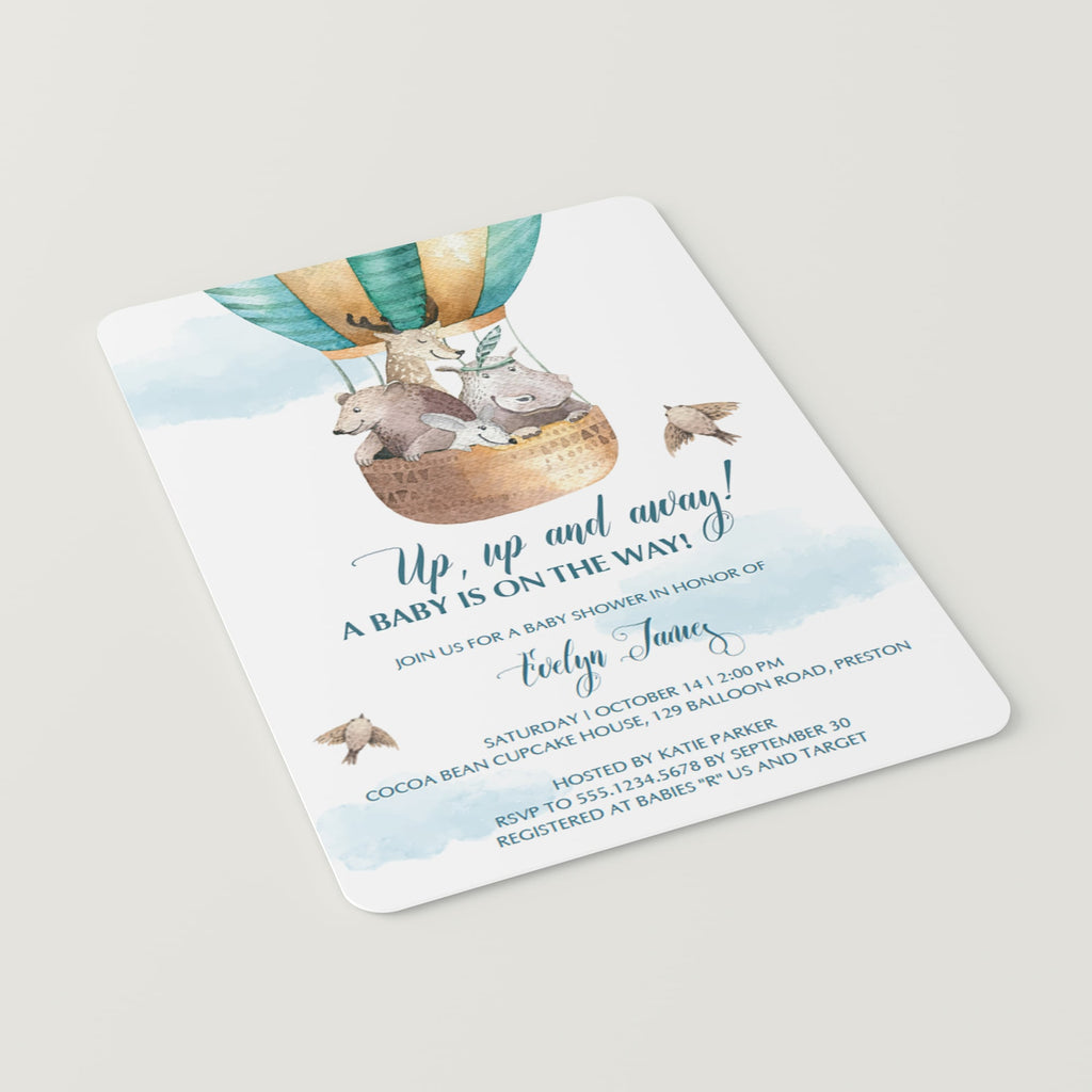 Watercolor hot air balloon for boy baby shower invite template by LittleSizzle