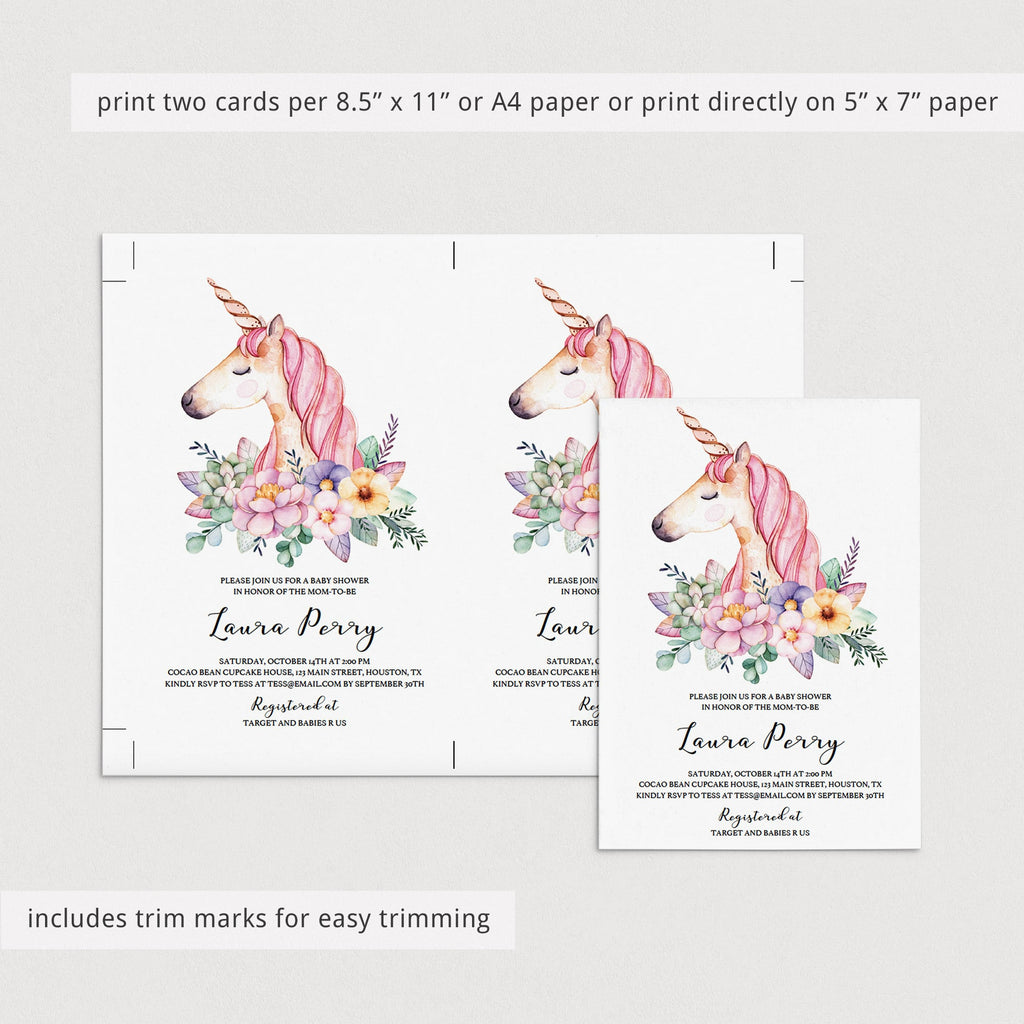 Printable unicorn baby shower evite download by LittleSizzle
