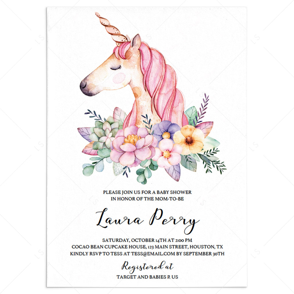 Unicorn baby shower invitation template for girls by LittleSizzle