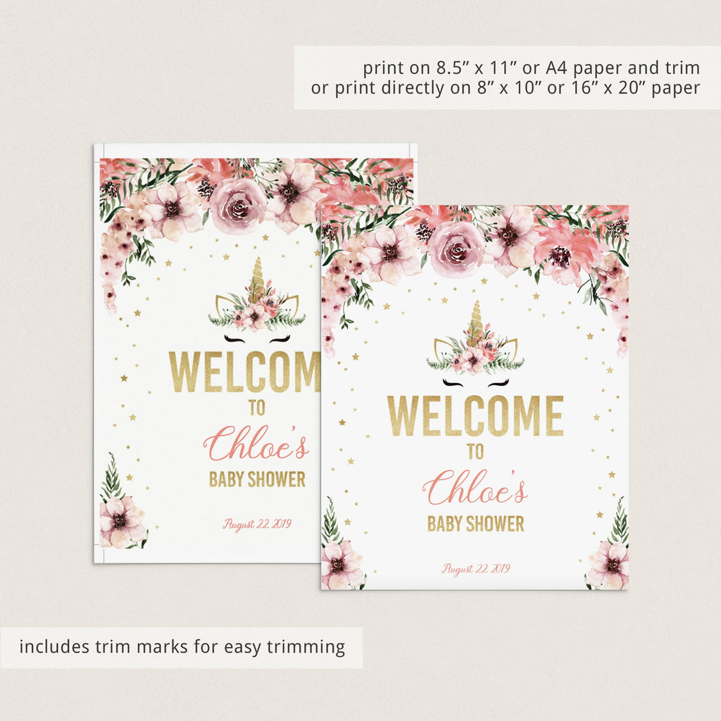 Editable unicorn gold baby shower welcome template by LittleSizzle