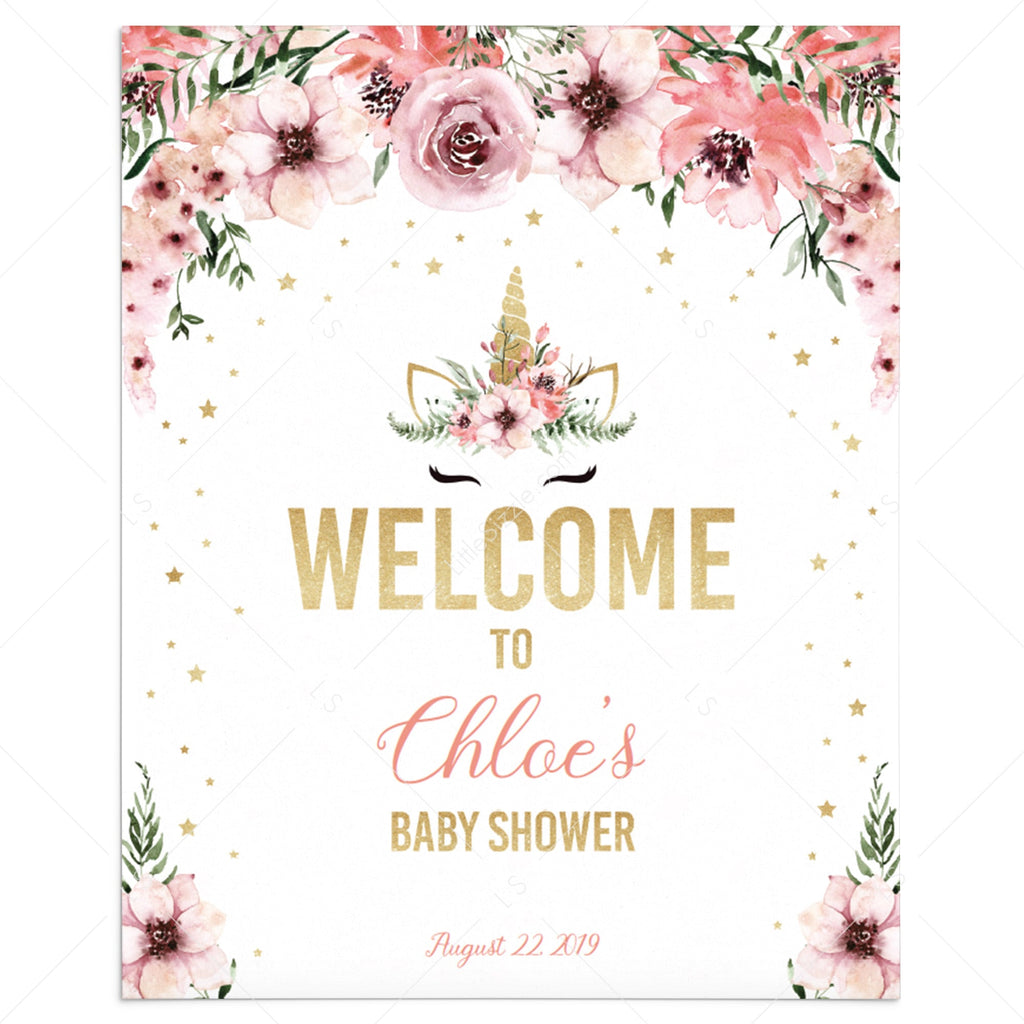 Unicorn baby shower welcome sign template by LittleSizzle