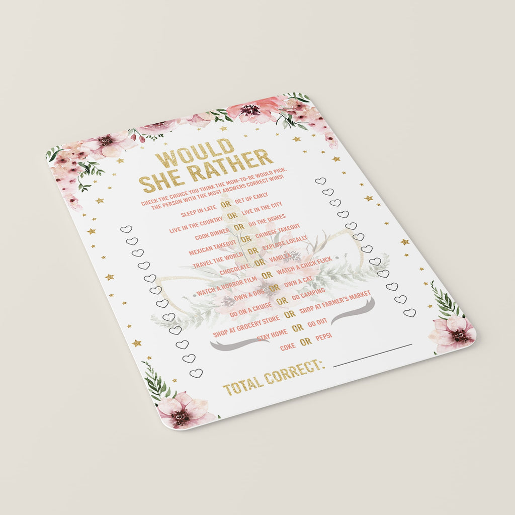 Would She Rather Game for Baby Shower Printable Pink and Gold