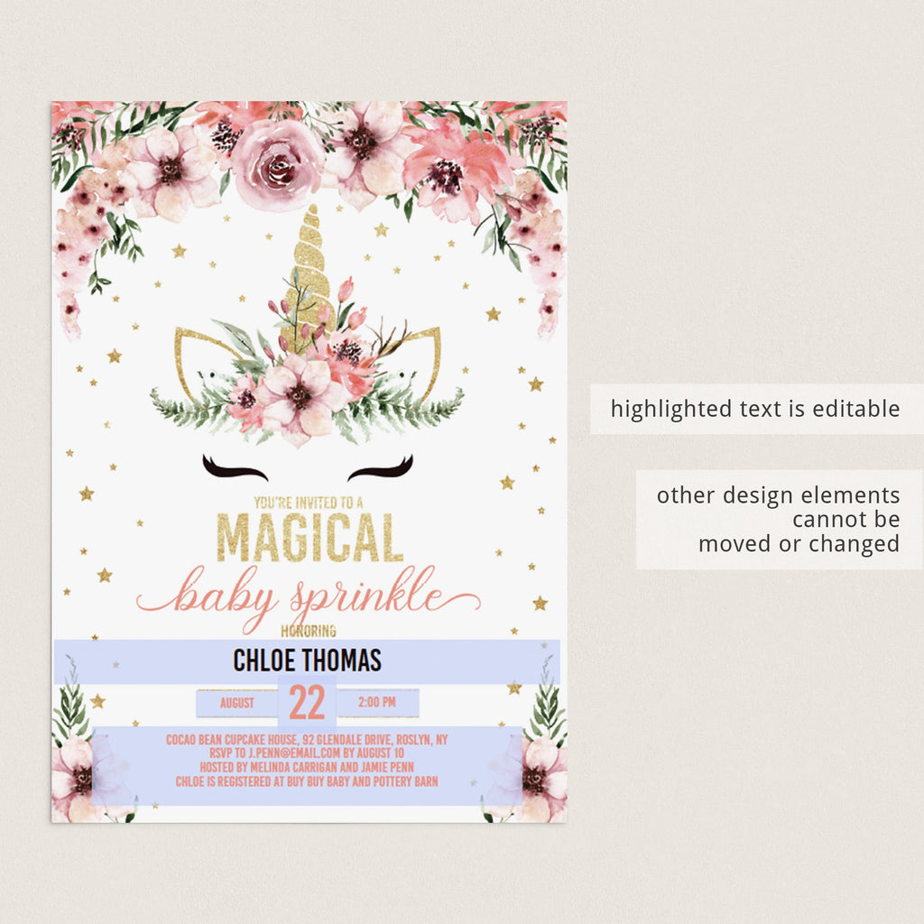 DIY baby sprinkle invitation for girls pink florals by LittleSizzle