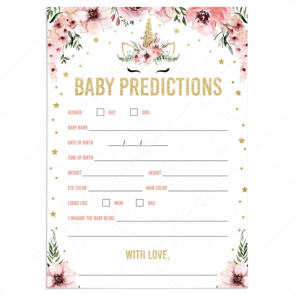 Baby statistics game for unicorn baby shower by LittleSizzle