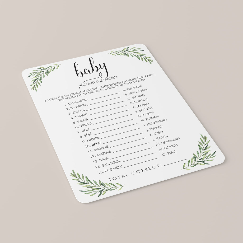 Travel Baby Shower Game Around The World Printable