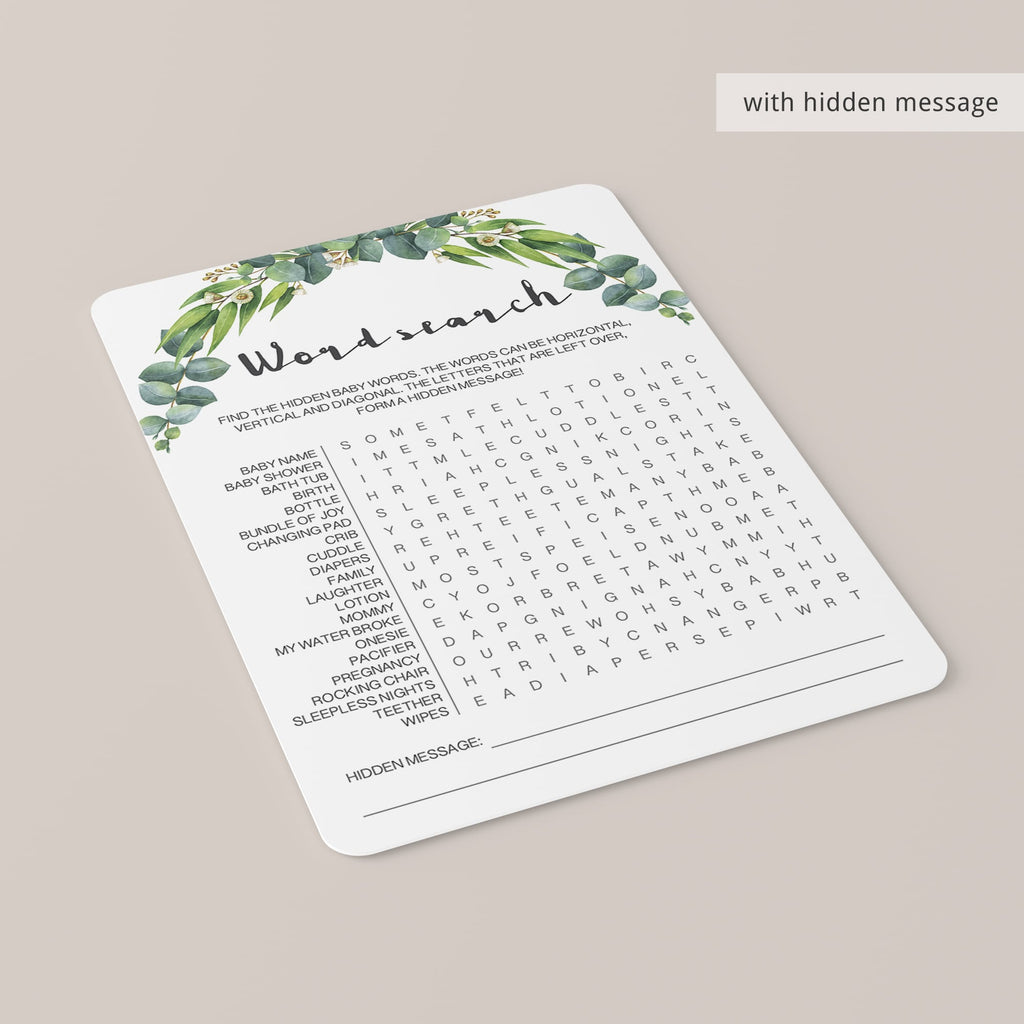 Eucalyptus baby shower games pack printable files by LittleSizzle