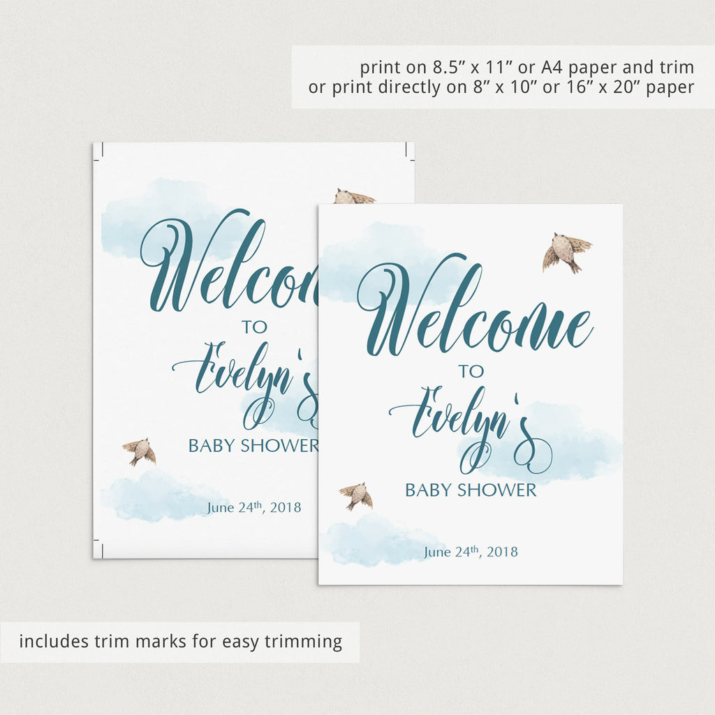 Printable White and Blue Baby Shower Decor Package