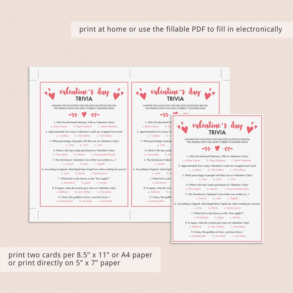 Valentine's Day Trivia Game Virtual & Printable Files
