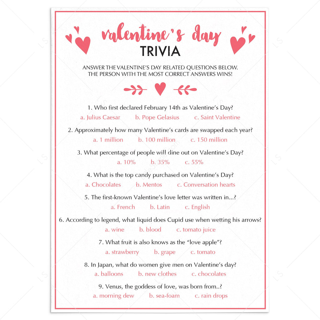 Valentine's Day Trivia Game Virtual & Printable Files by LittleSizzle