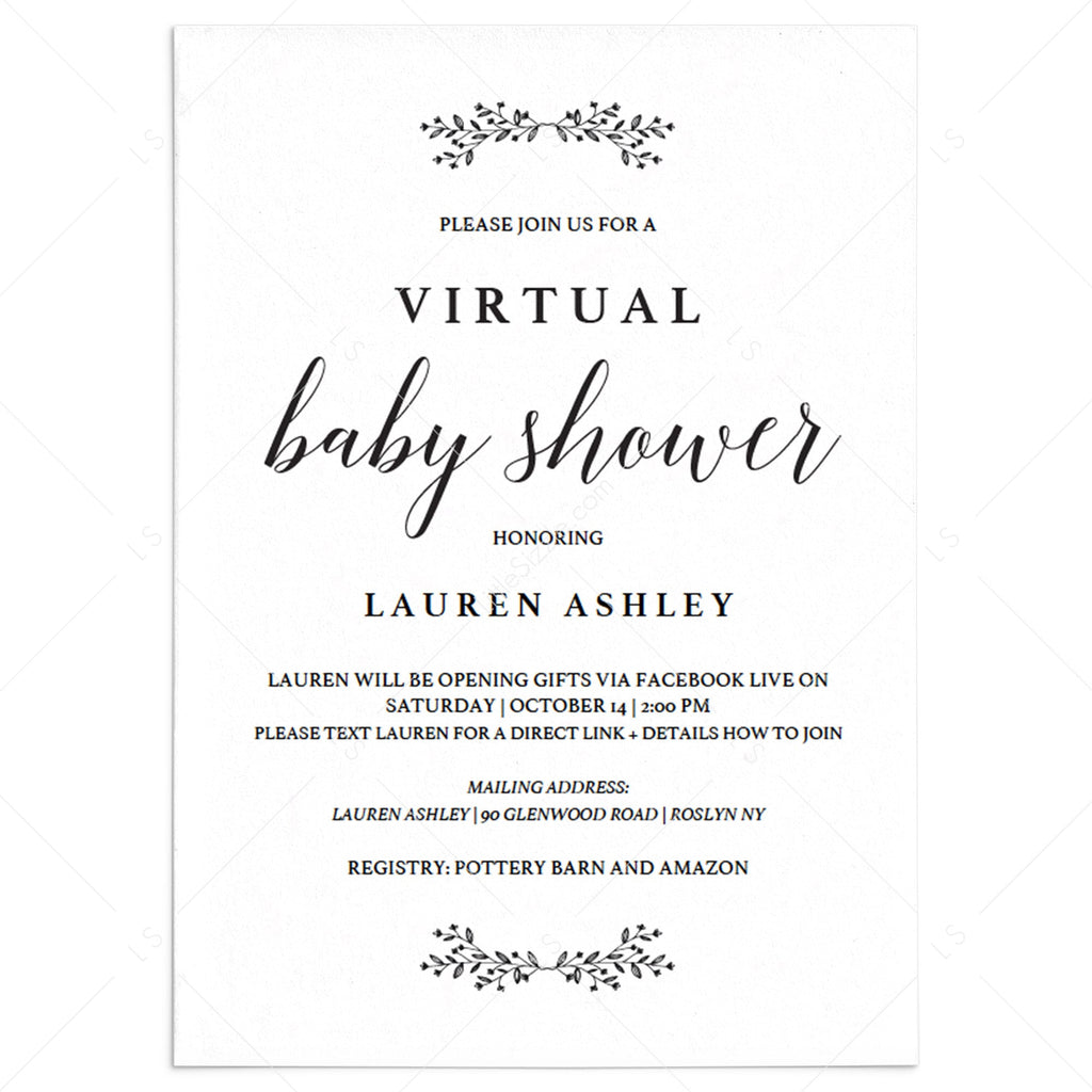 Virtual Baby Shower Invitation Template Instant Download Minimal Littlesizzle