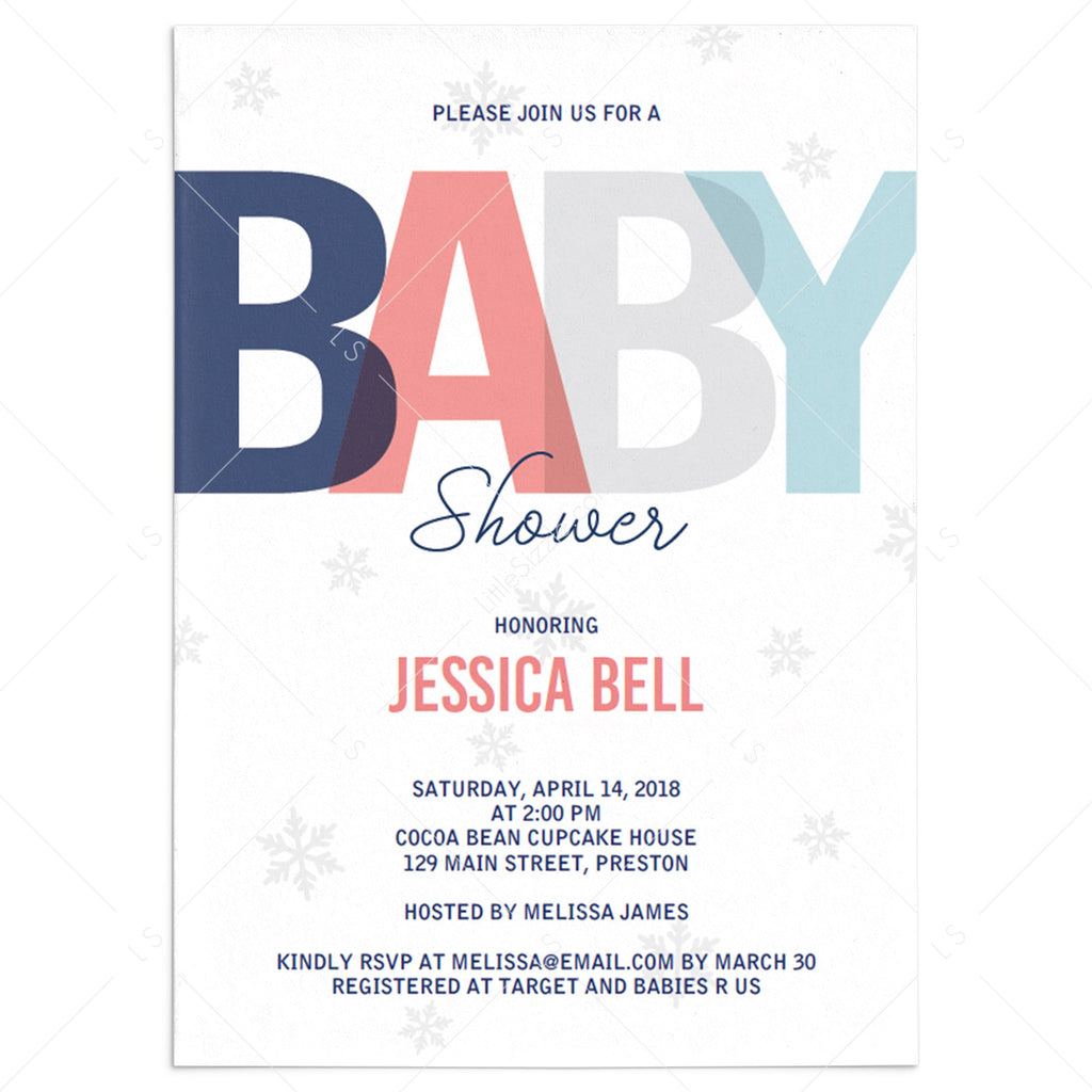 Winter baby shower invitation template download by LittleSizzle