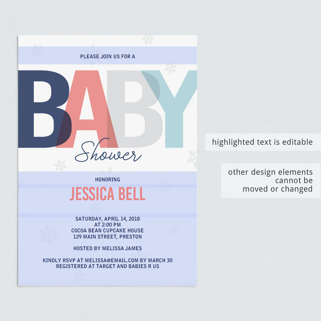 Editable baby shower invitation templates by LittleSizzle