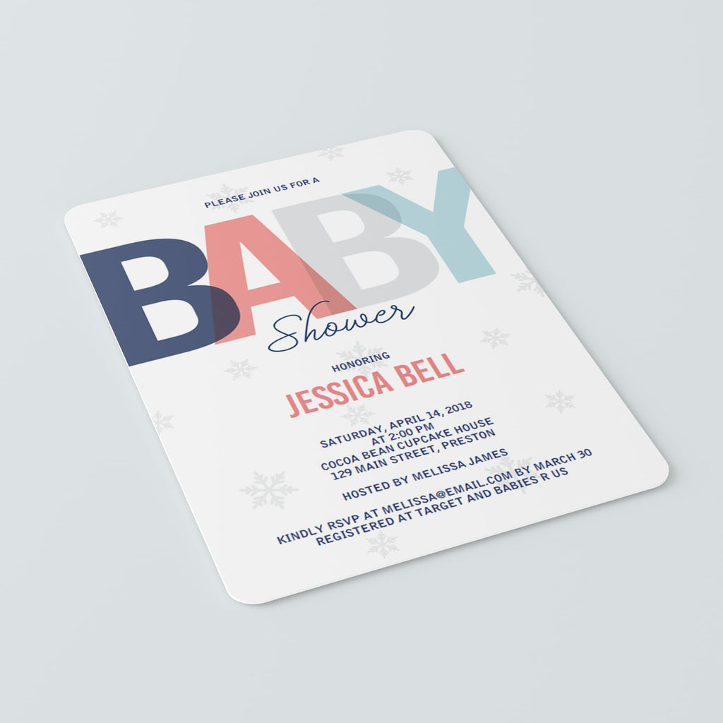Winter Baby Shower Invitation Set Template