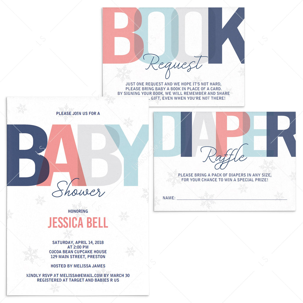 Winter Neutral Baby Shower Invitation Set Download by LittleSizzle