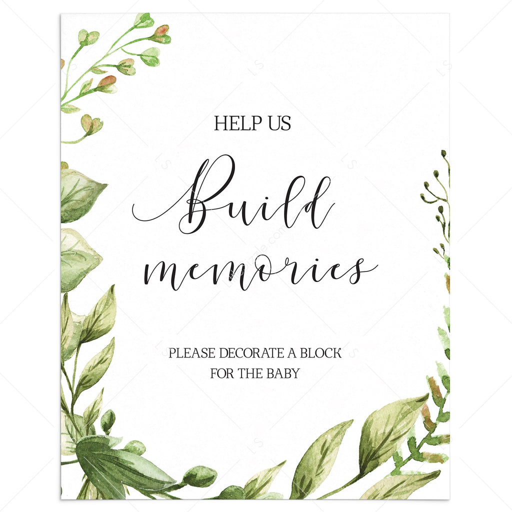 Build memories baby shower activity sign printable green leaves by LittleSizzle