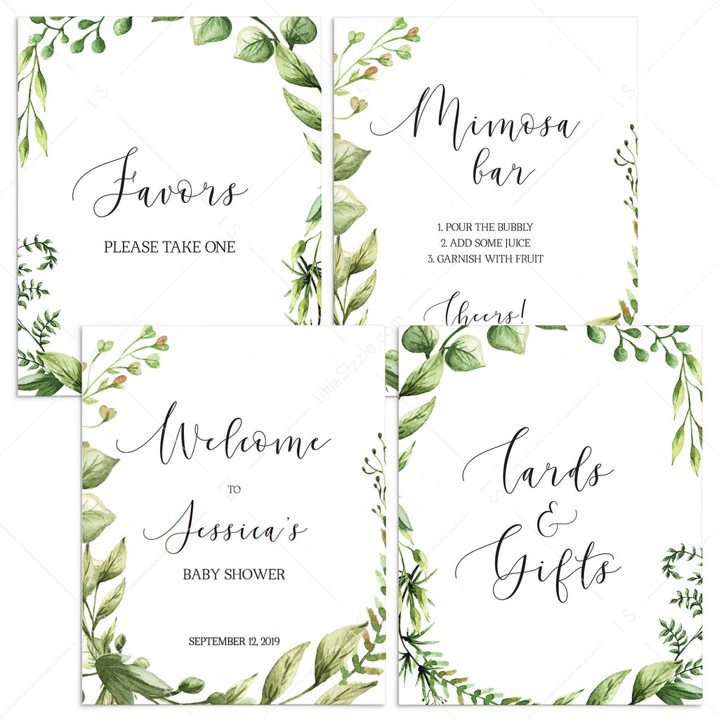 Watercolor green leaves baby shower decorations printable by LittleSizzle