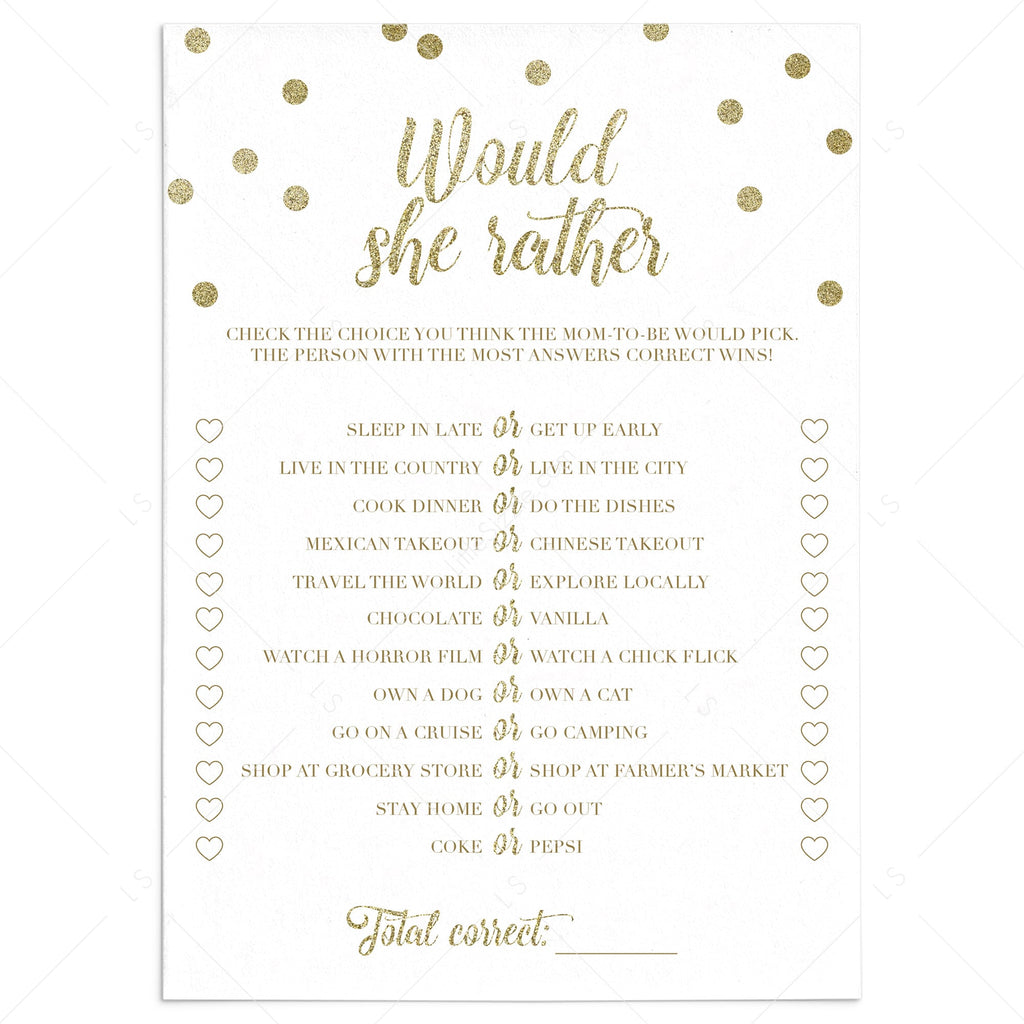 Printable would she rather baby shower game gold confetti by LittleSizzle