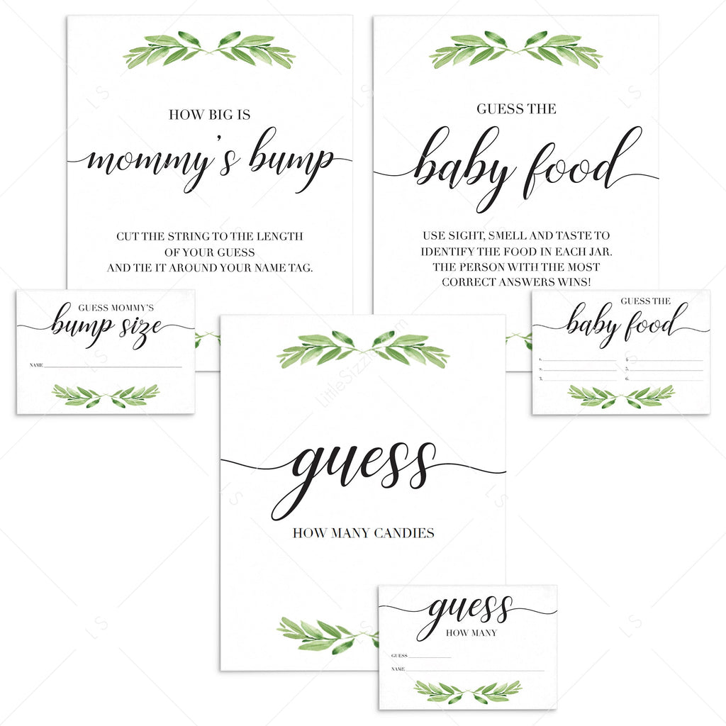 Greenery baby shower guessing signs and cards printables by LittleSizzle