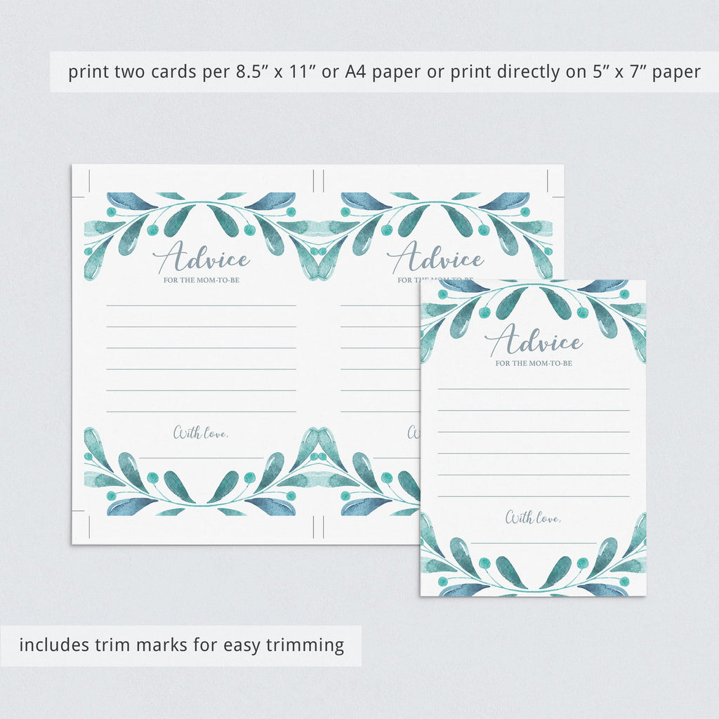 Instant download advice cards for new mom winter theme by LittleSizzle