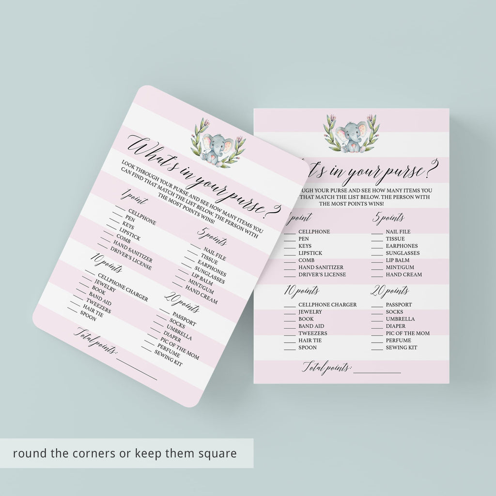 Girl Baby Shower What's In Your Purse Game Printable