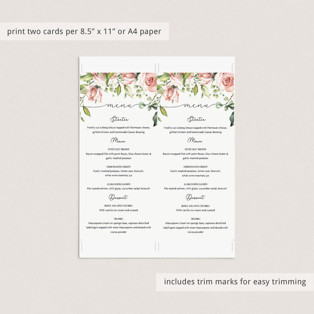 Blush floral menu cards instant download by LittleSizzle