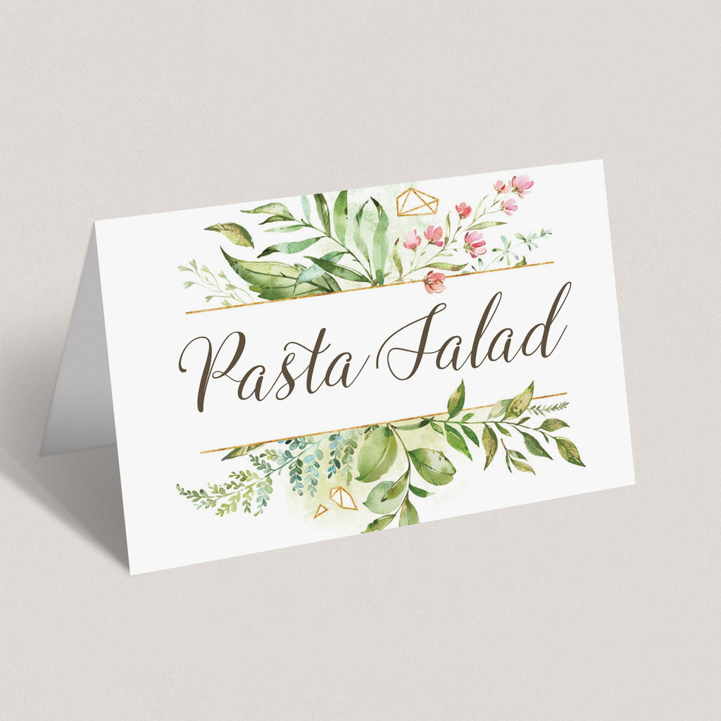 Floral food tent cards for baby shower party by LittleSizzle