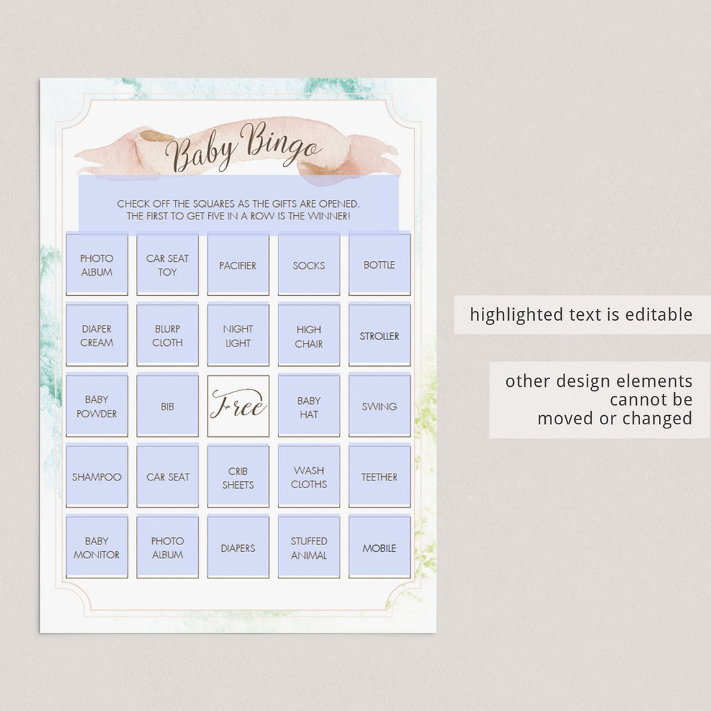 Blank printable baby bingo card with pink and green watercolor pastels by LittleSizzle