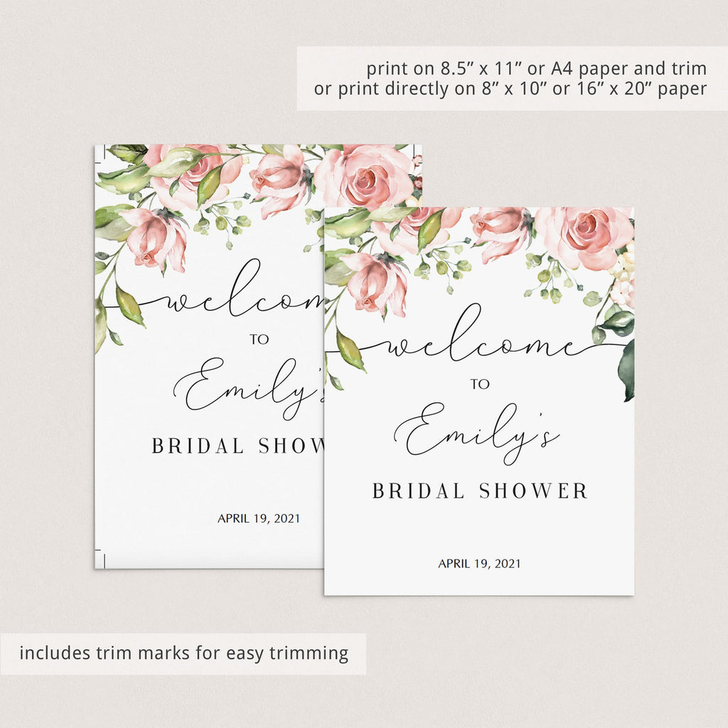 printable bridal shower welcome sign instant download