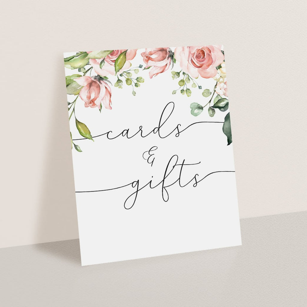 Printable gift table signage watercolor flowers by LittleSizzle