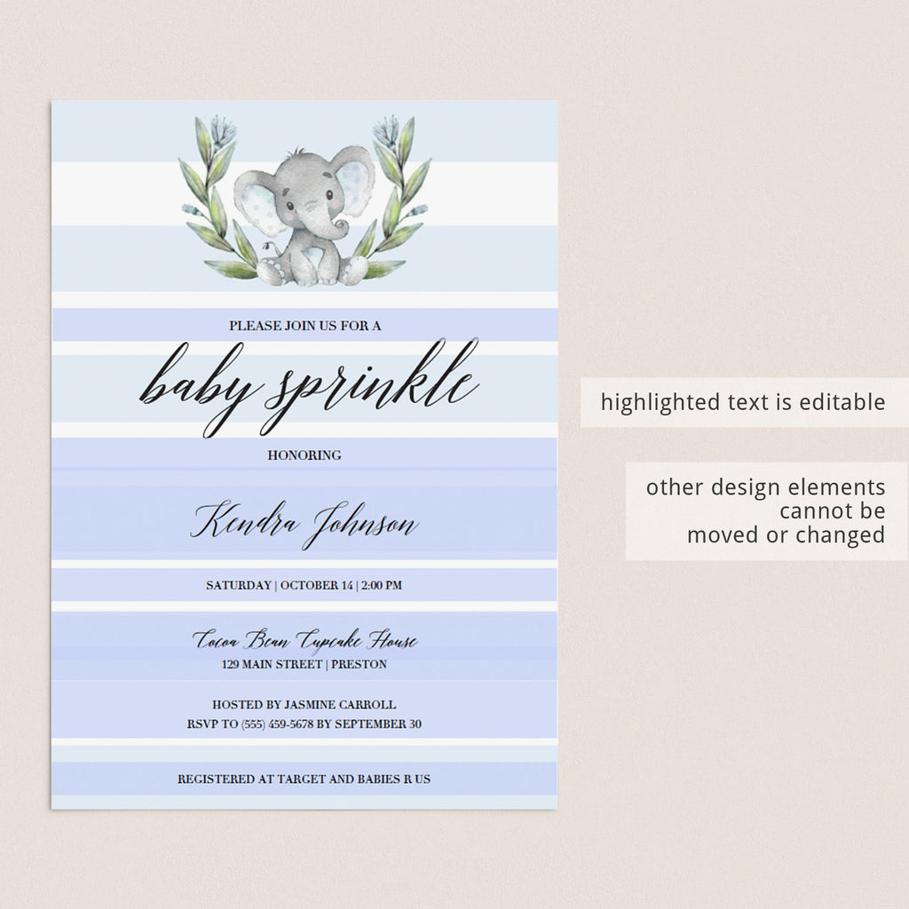 DIY baby sprinkle invitation instant download elephant themed by LittleSizzle