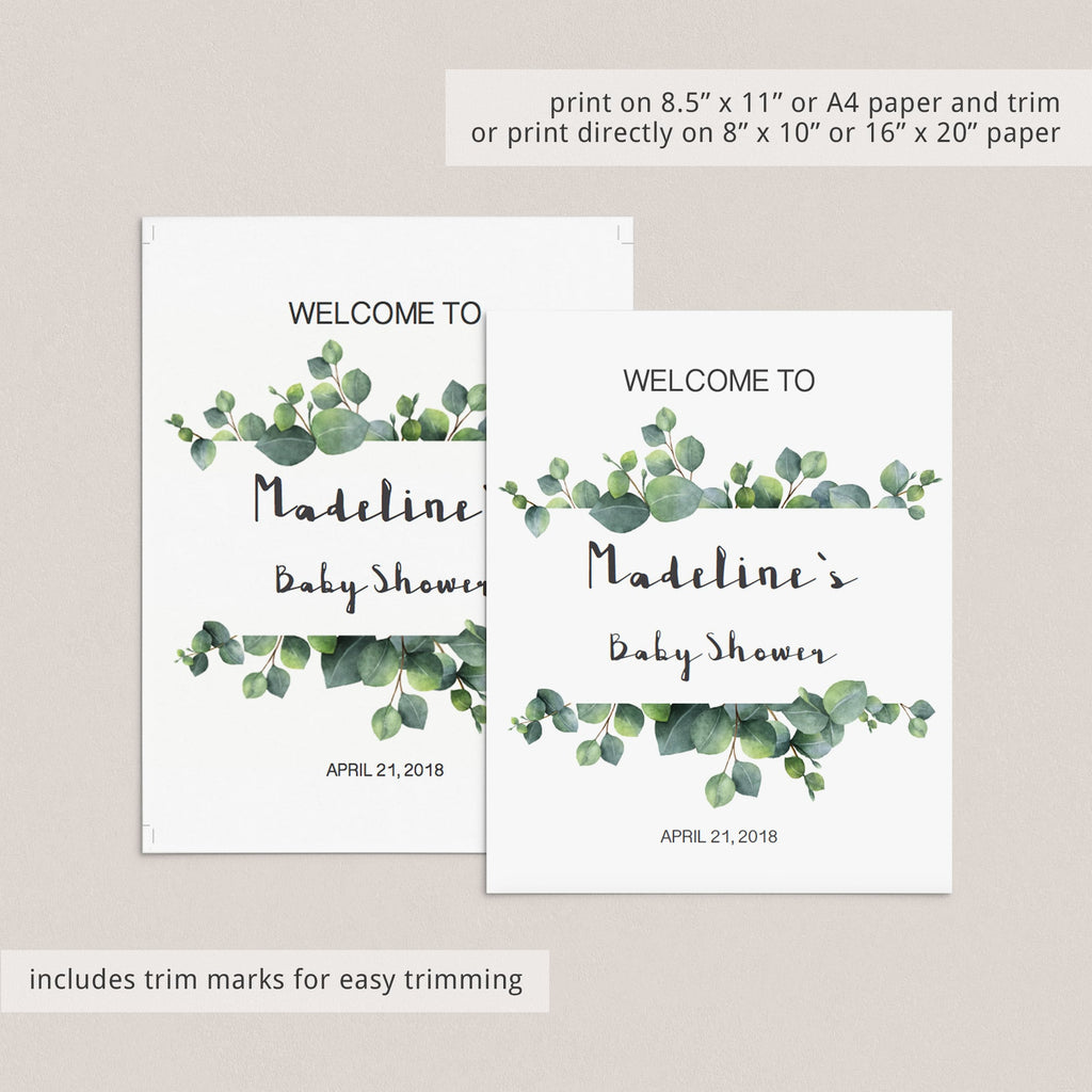 Editable welcome to baby shower sign eucalyptus leaves by LittleSizzle