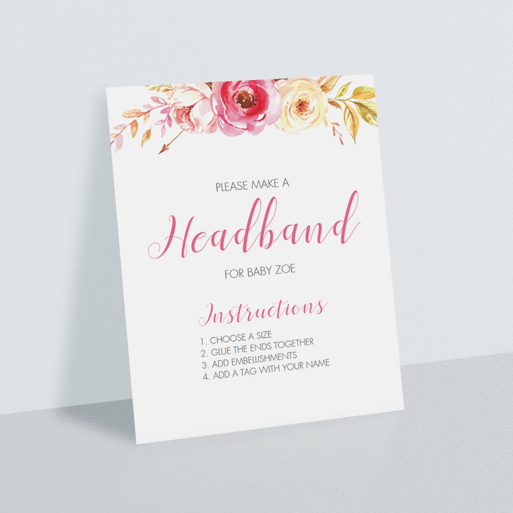 Watercolor floral headband station instructions sign template by LittleSizzle