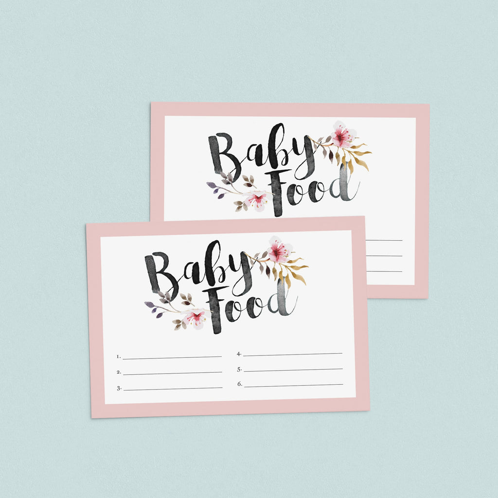 Girl baby shower food guessing cards printable by LittleSizzle