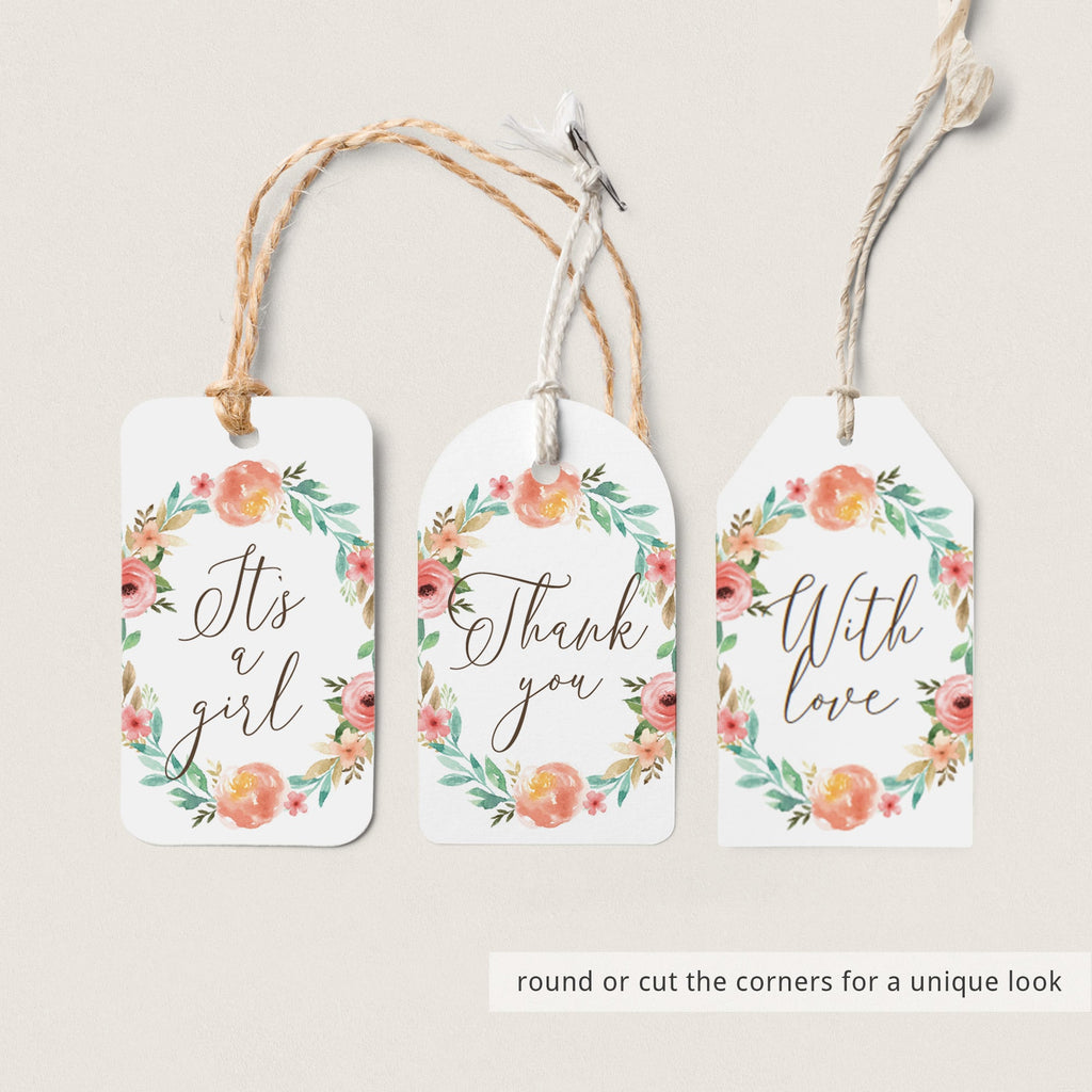 Floral Thank You Favor Tag Template Download