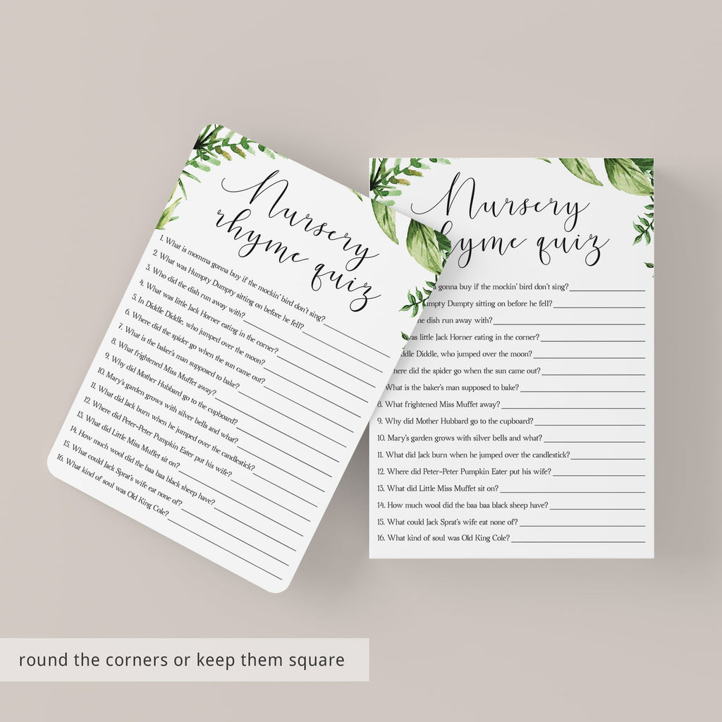 Greenery Nursery Rhyme Quiz BabyShower Game Instant Download