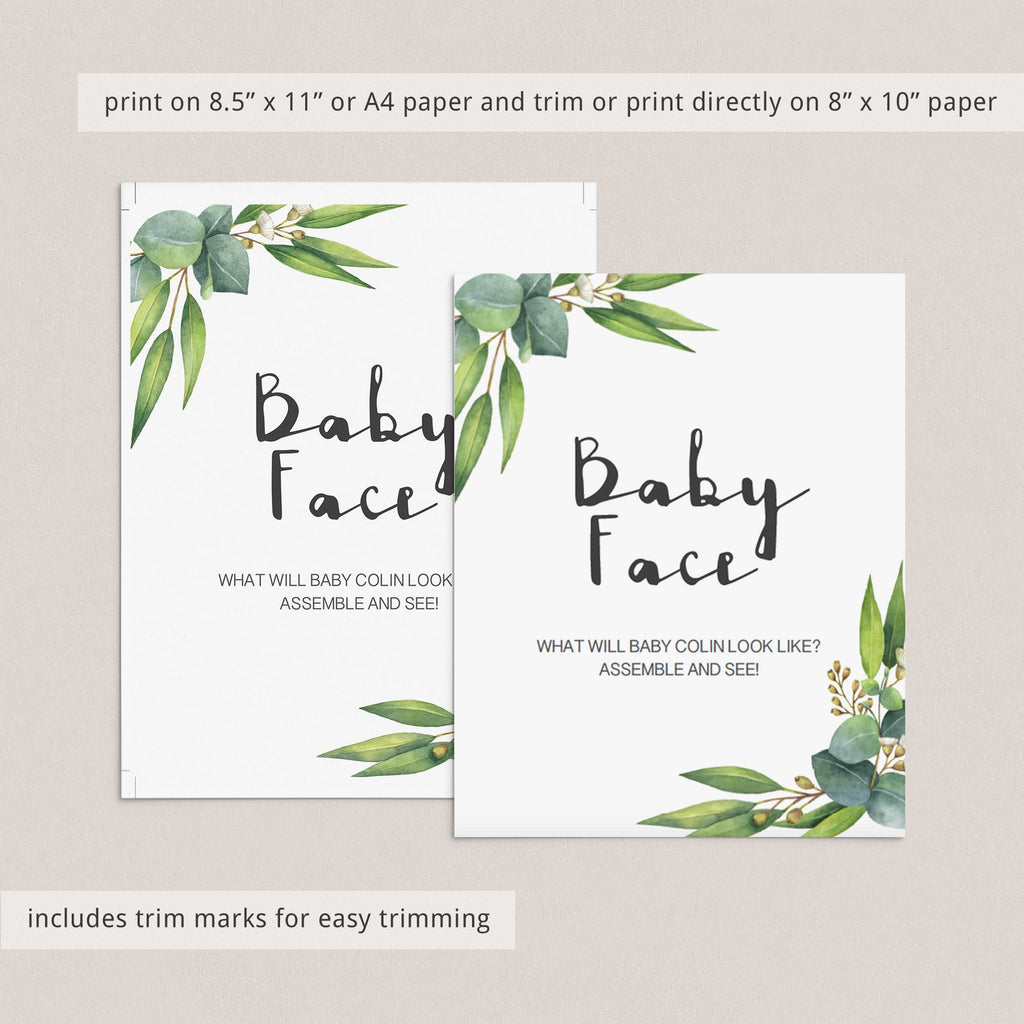 What will the new baby look like game green baby shower printable by LittleSizzle
