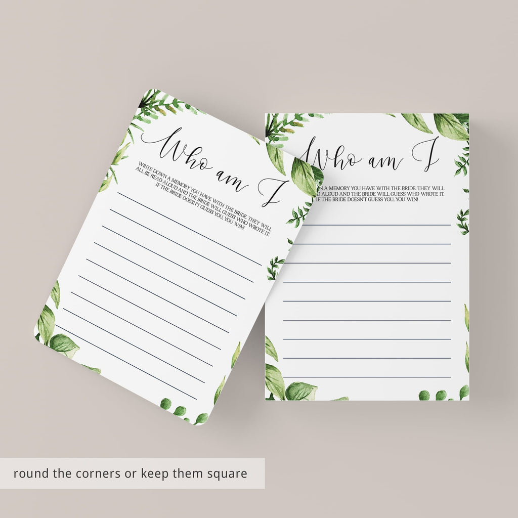 watercolor green leaves bridal party games printables