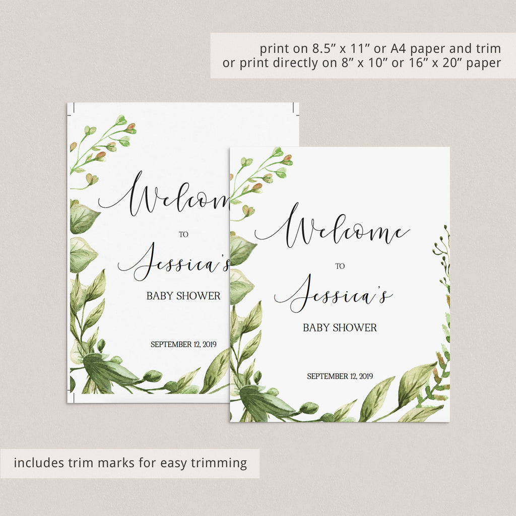 Watercolor Green Leaves Baby Shower Sign Package