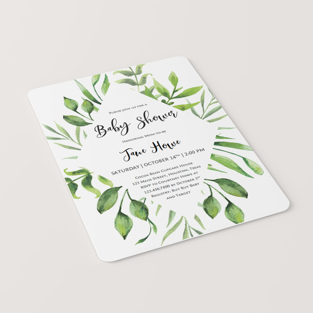 Classic watercolor leaves baby shower invitation template PDF digital files by LittleSizzle